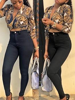 Vintage Printed Three Quarter Sleeve V Neck Ladies Blouse