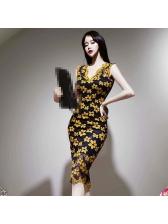 Elegant v Neck Lace Panel Sleeveless Dress