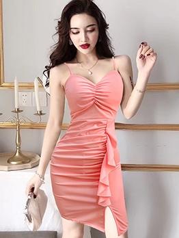 Sexy Ruffle Detail Draped Sleeveless Mini Dress