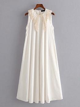 Embroidery Large Hem Sleeveless White Maxi Dress
