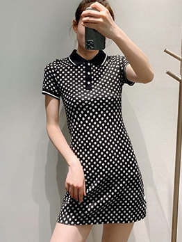 Doll Collar Short Sleeve Floral Dress For Women