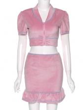 Front Zipper Short Sleeve Crop Top And Skirt Set