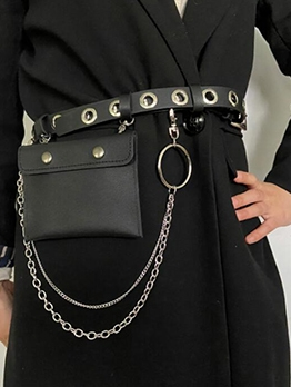 Chain Multiple Evelet Black Belt With Small Bum Bag