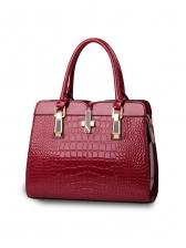 Simple Style Alligator Print Glossy Pu Handbags For Women