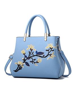 Flower Embroidered Design Large Capacity Ladies Handbags