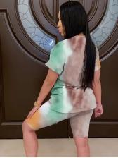 Summer Short Sleeve Tie Dye Two Piece Set