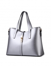 Business Style Pure Color Soft Pu Large Handbags
