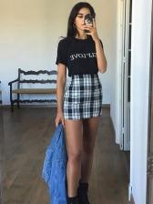Stitching Color Plaid Skinny High Waist Skirt