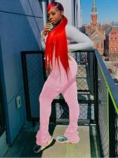 Solid Color Pocket Ruched Pants For Women