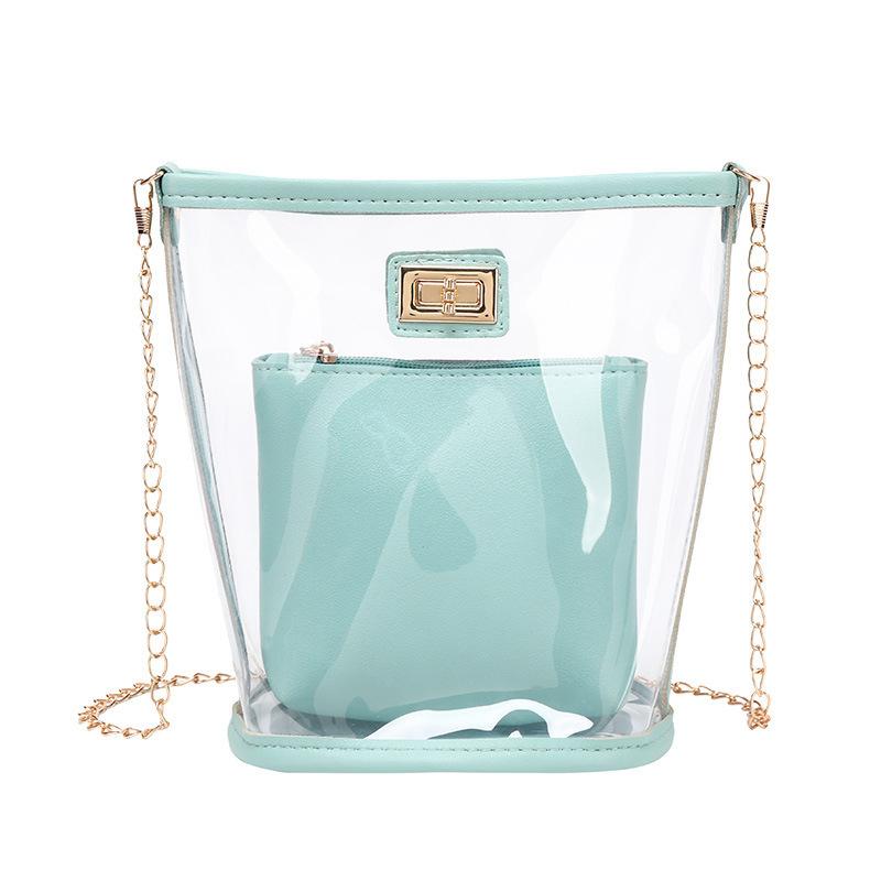 Transparent PVC Chain Twist Lock 2 Piece Shoulder Bags