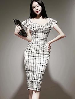 Elegant Doll Collar Plaid One Piece Dress