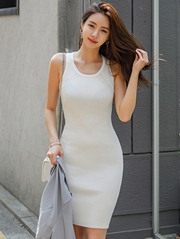 Simple Solid Knitted Sleeveless Sundress
