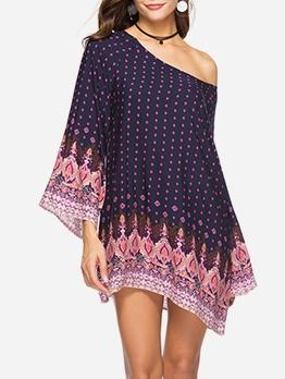 Loose Tribal Printed Long Sleeve Dress