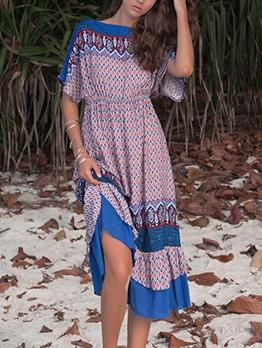 Bohemian Open Back Loose Short Sleeve Dress