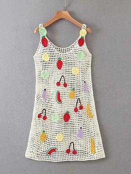 Chic Fruits Pattern Knitted Sleeveless Dress