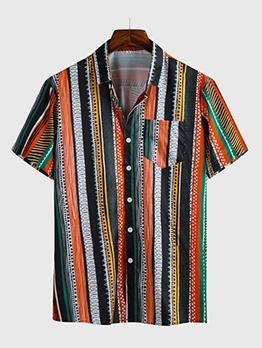 Euro Pocket Contrast Color Striped Shirt