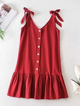 Single-Breasted Ruffled Hem Sleeveless Red Dress