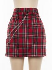 Chain Decorated Classic Plaid High Waist Skirt