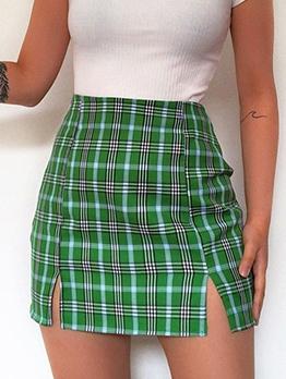 Split Hem Green Plaid Short Skirt For Women