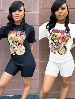 Cartoon Skull Printing 2 Piece Shorts Set For Women