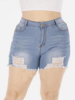 High Waist Plus Size Ripped Denim Shorts
