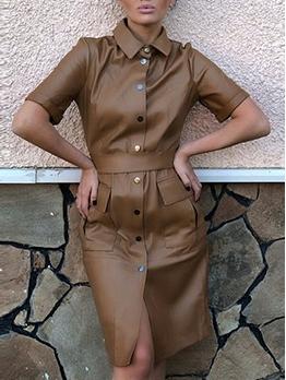 Single-Breasted Turndown Neck Short Sleeve Pu Dress