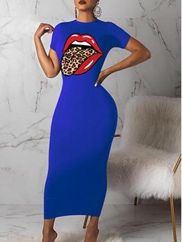 Lips Print Short Sleeve Bodycon Maxi Dress Casual