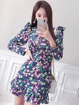 Korean Style Puff Sleeve Floral Bodycon Dress