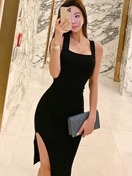 Sexy Square Neck Split Hem Sleeveless Sheath Dress