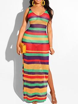 Sexy v Neck Split Hem Iridescent Beach Maxi Dress