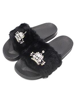 Winter Rhinestone Crown Anti-Friction Fur Slippers