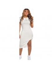 Summer Split Hem Solid Short Sleeve Dress Casual