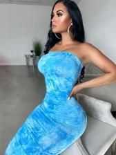 Sexy Print Skinny Strapless Maxi Dress