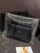 Clear PVC Flat Women 2 Piece Chain Crossbody Bags