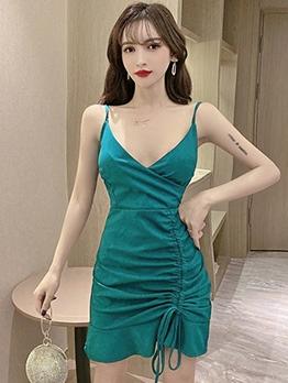 Sexy Drawstring Sleeve Mini Dress For Club