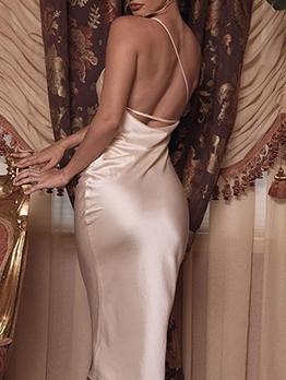 Backless Sleeveless White Midi Dress