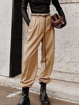 Pure Color Side Pocket Straight Leg Long Pants For Women