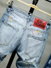 Euro Printed Holes Men Distressed Jeans