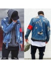 Hip-Pop Ripped Pockets Denim Jacket