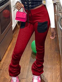 Pleated Bottom Pockets Elastic Waist Skinny Pants