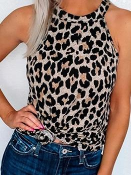 Leopard Print Off Shoulder Tank Top For Women