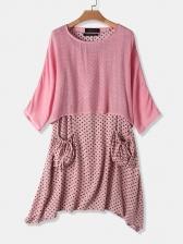 Polka Dots Short Sleeve Tee 2 Piece Dress