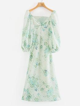 Backless Lantern Sleeve Print Green Midi Dress