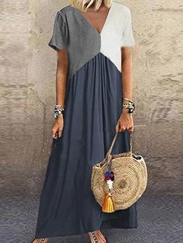 Casual Color Block Short Sleeve Maxi Dresses