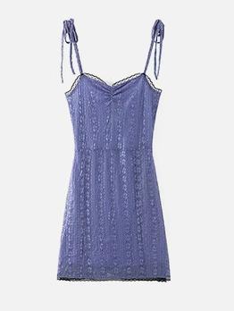 Trendy Lacework Slip Solid Ladies Dress