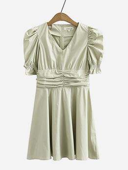 Puff Sleeve V Neck Green Short Dress