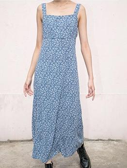 Bohemian Ditsy Printed Sleeveless Maxi Dresses