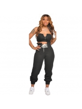 Solid Strapless Stringy Selvedge Crop Top And Pant Set