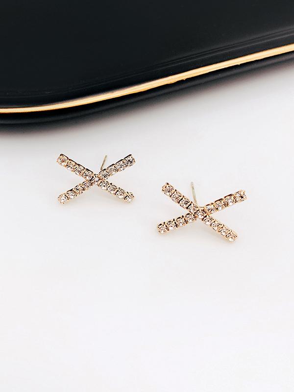 Geometric Cross Rhinestone Stud Earrings For Women