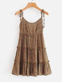 Trendy Stringy Selvedge Leopard Sleeveless Summer Dresses